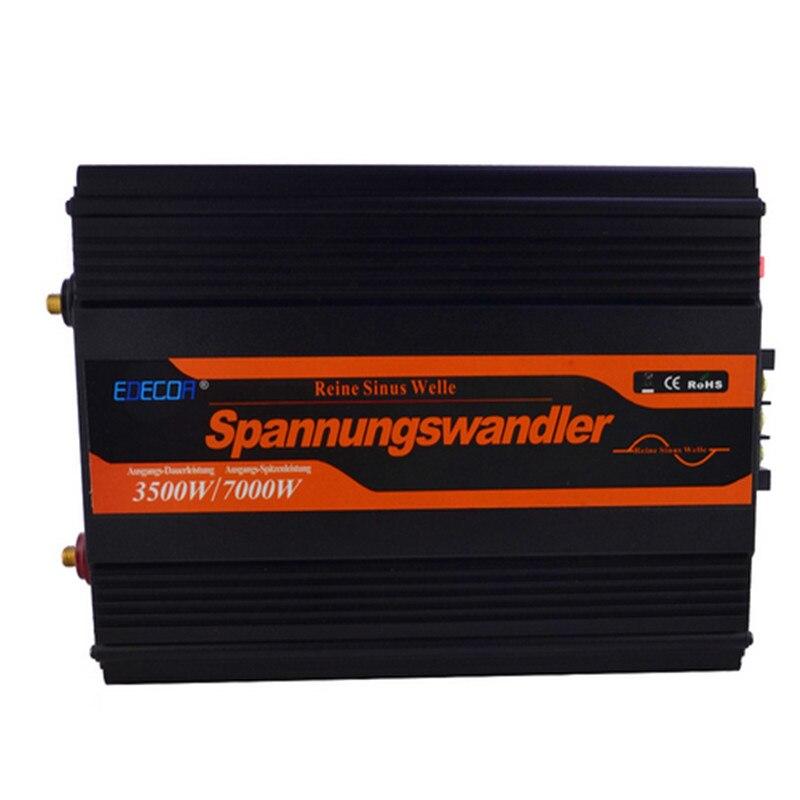 EDECO onda sinusoidal pura más avanzada pantalla LCD 3500 W 12 V a 220 V 7000 W pico DC a AC al aire libre inicio inversor de frecuencia