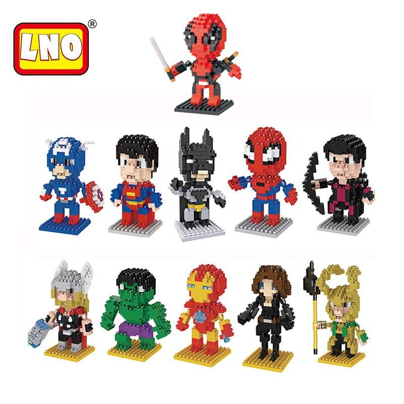 LNO caliente Mini bloques de Los Vengadores Ironman Hulk modelo de Spiderman Micro tamaño diamante ladrillos Juguete educativo para niños