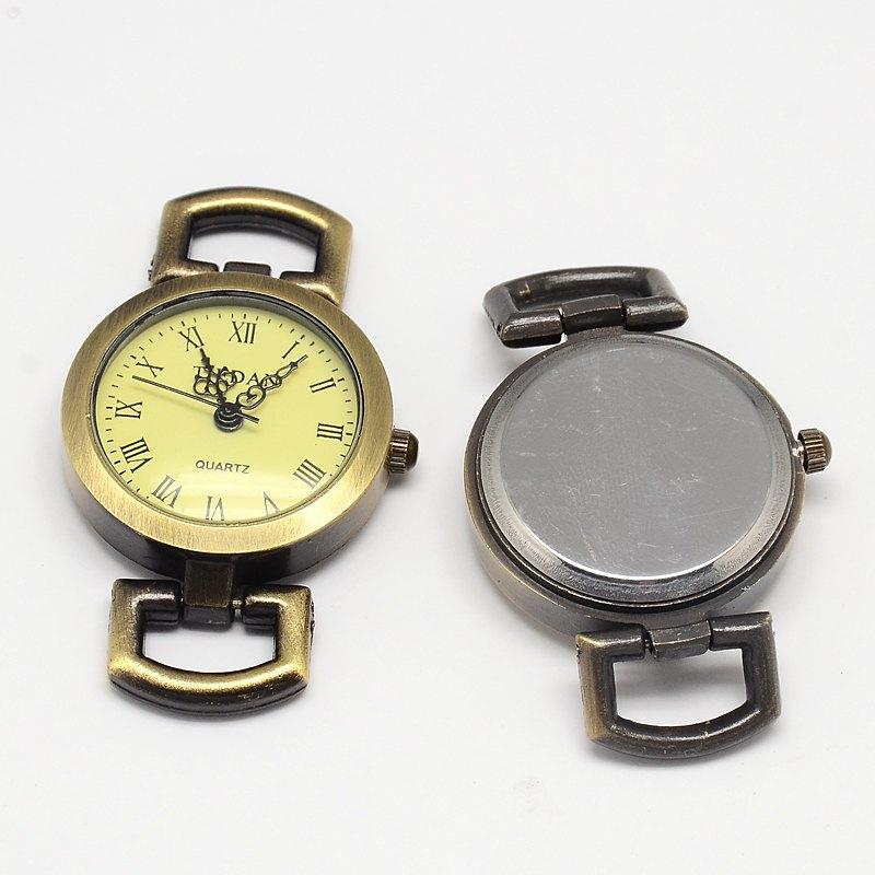 Vintage Antique Bronze Roman Watch Face Alloy Flat Round Watch Head Watch Asscessory, 48x28x9mm, Hole: 10x5mm old antique bronze doctor who theme quartz pendant pocket watch with chain necklace free shipping