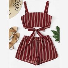 Off Shoulder Cinched Floral Set Striped Shorts Faldas Mujer Moda 2019 Crop Top Bow Summer 2 Piece Zipper