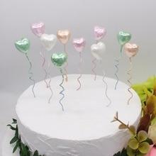 10 Uds. De decoración de mesa de postre con forma de globo, pastel de estrellas, color perla, multicolor