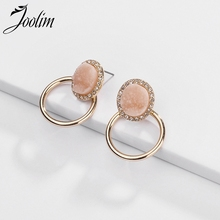Joolim Jewelry Wholesale/Simple Druzy Hoop Earring Gold Earrings 2019 Fashion