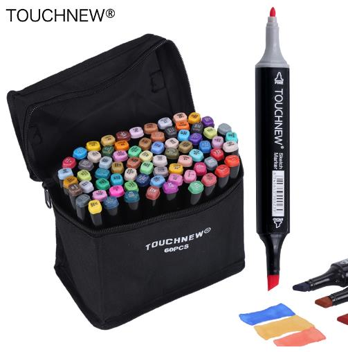 TOUCHNEW 30/40/60/80 Colors Art Markers Alcohol Based Markers Drawing Pen Set Manga Dual Headed Art Sketch Marker Design Pens touchnew 30 40 60 80 168 colors artist dual headed marker set manga design school drawing sketch markers pen art supplies
