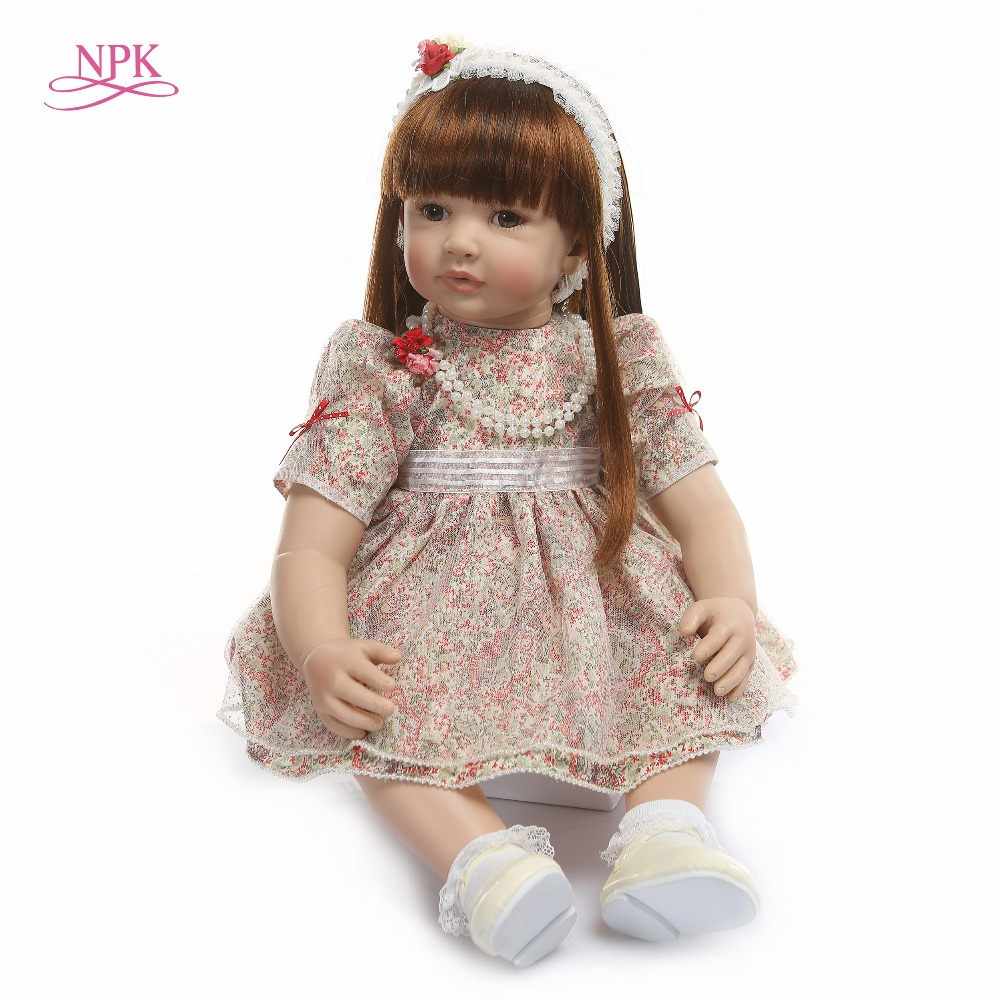 NPK 60cm Silicone Reborn Baby Doll Toys 24inch Vinyl Princess Toddler Girl Babies Doll High Quality