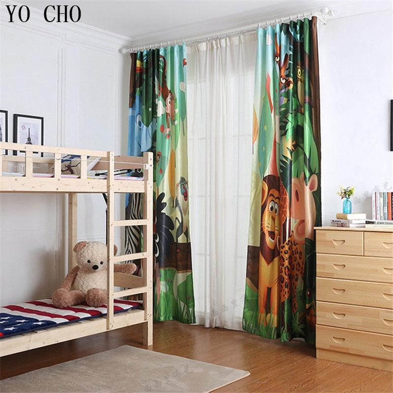 YO CHO cartoon animali tigre leone cervo finestra tende per la camera dei bambini stile Europeo e Americano soggiorno tende oscuranti - 3