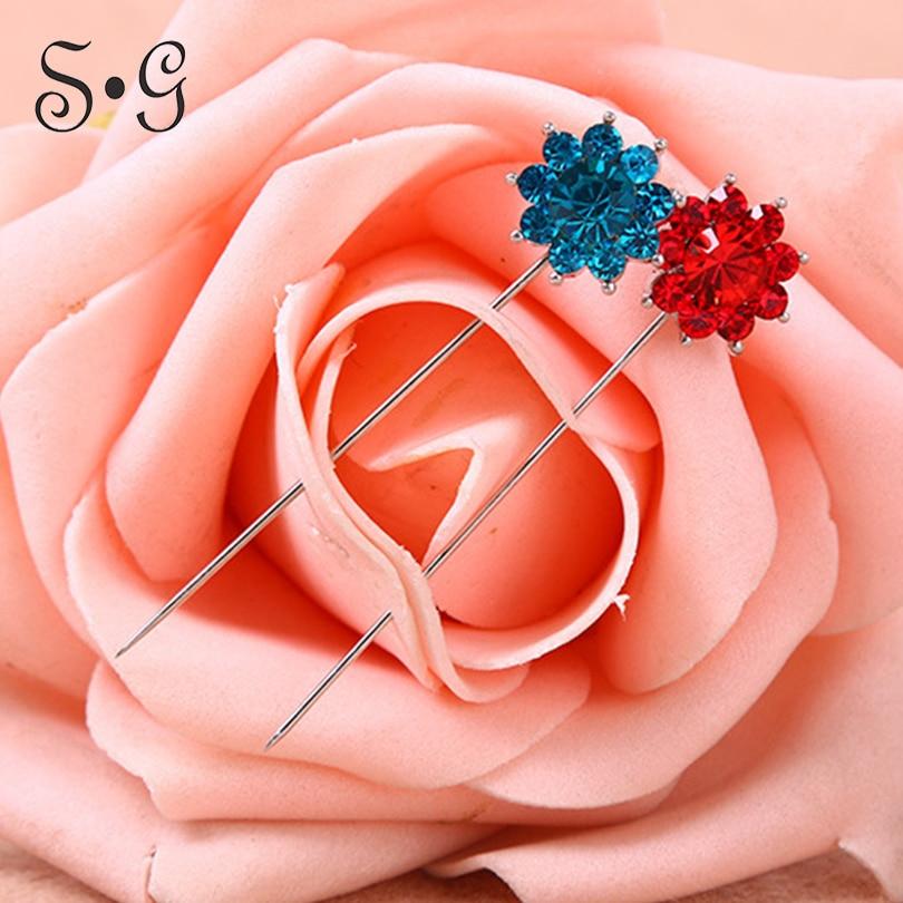 6pairs/pack plum flower shape Pin Women Safety Scarf free Pin cover New Hijab Pins Rhinestone Wholesale Muslim Hijab Brooch