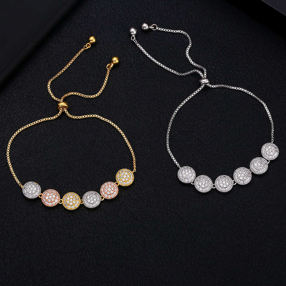 jankelly Brand Luxury round shape  Design Cubic Zirconia Crystal Zircon Adjustable Drawstring Bracelets for Women Jewelry Gifts