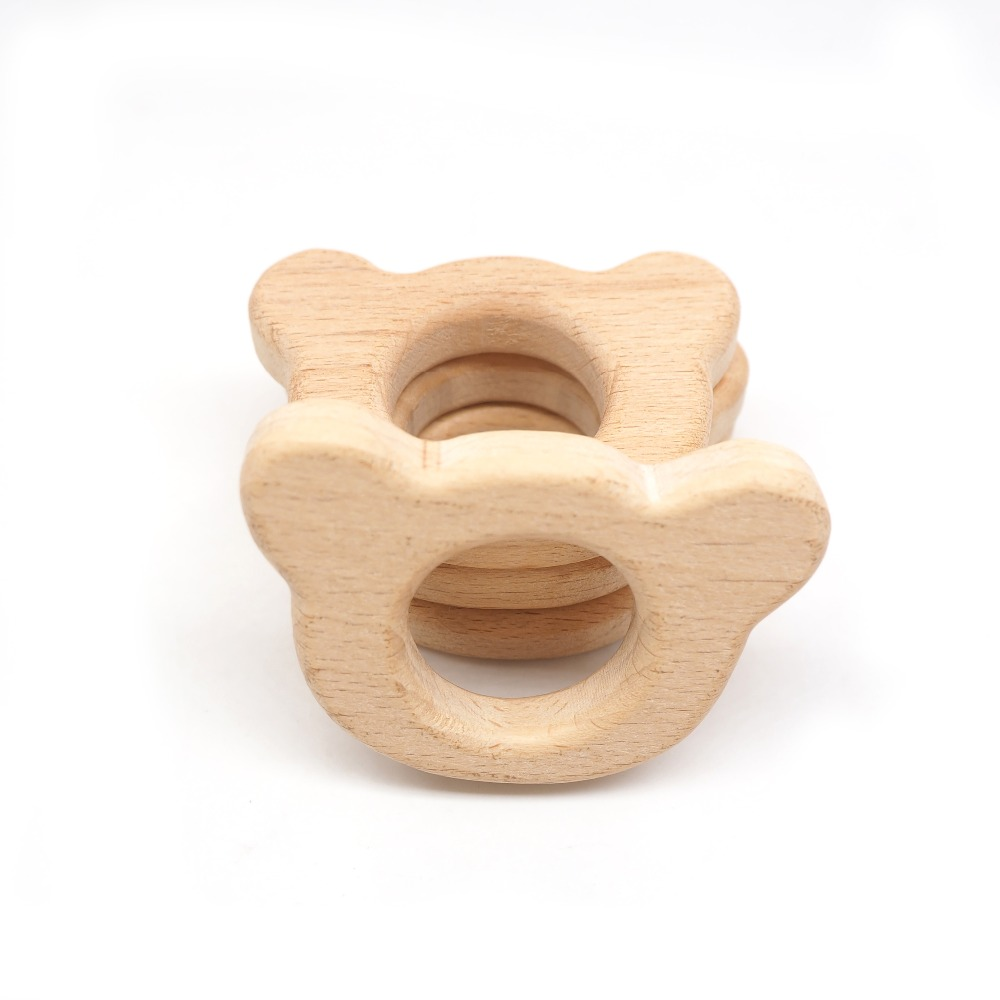 Chenkai 10pcs Wood Bear Teether Ring DIY Organic Eco-friendly Unfinished Nature Baby Pacifier Rattle Teething Grasping Toy