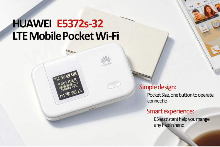 unlocked HUAWEI E5372S-32 LTE 4G Wireless Router 150M, huawei e5372 Support FDD 2600/2100/1800/900/800 MHz huawei e5372 white