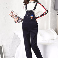 Autumn winter new fashion brand embroidery pants women maternity Corduroy jumpsuits Bibs pregnant trousers ws98 free shipping