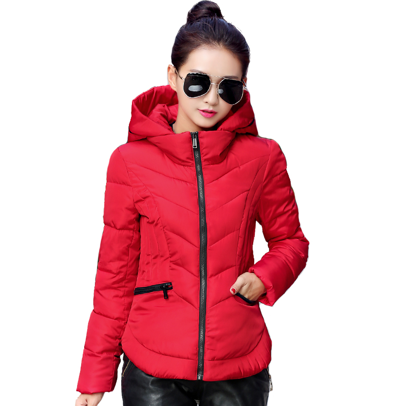 2018 Fashion Short Winter Jacket Women Slim Female Coat Thicken   Parka   Cotton Hooded Fur Collar candy-colored Ladies Jacket
