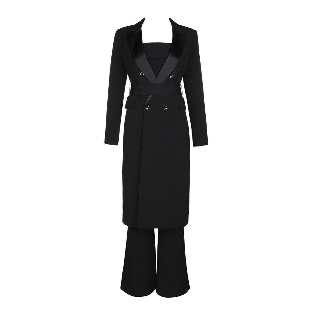 Pièces Sexy Noir 2019 2 amp; Bretelles Femmes Deux Ceintures Bouton Manteau Longues Combinaison Verano Solide Salopette Mode Gros À Manches IwxqxAtS
