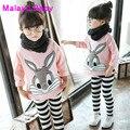 Malayu Ребенка 2016 марка осень новый с длинными рукавами костюмы девушка одежда девушка случайный стиль мультфильм кролик шип + полосатый брюки набор