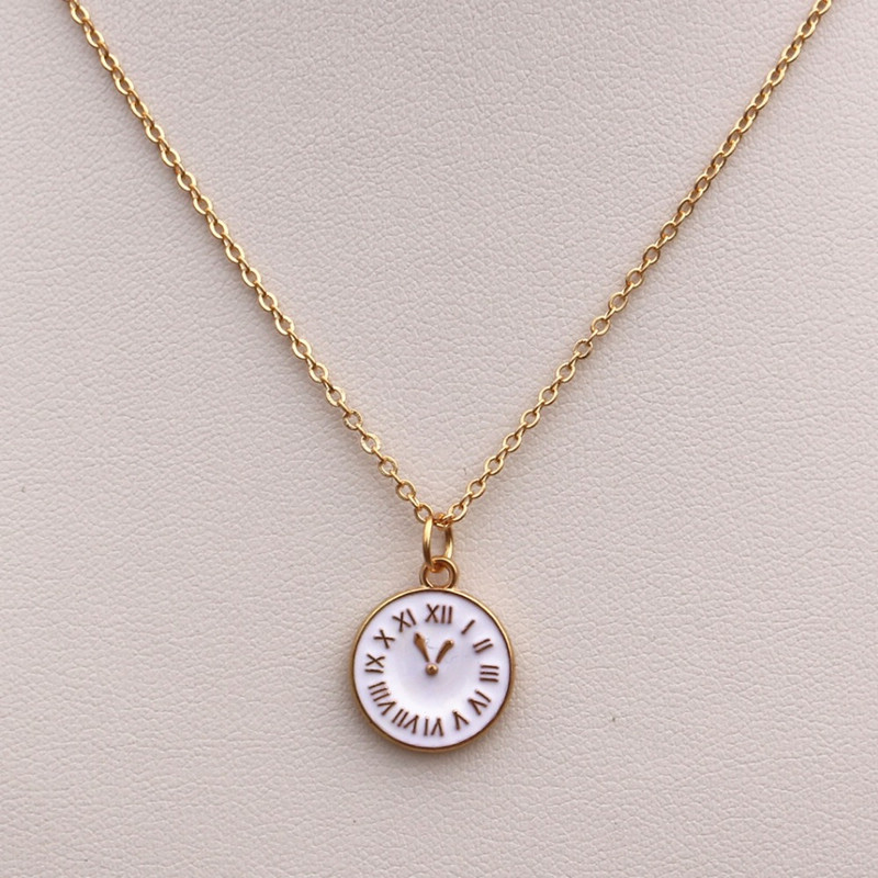 Fashion Cute Tiny Time Clock Pendant Necklace For Women Gold Chain Choker Necklace Lady Girl Bijoux Jewelry Wedding Gift in Pendant Necklaces from Jewelry Accessories