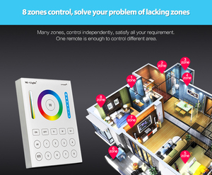 Image 3 - Mi Light 2.4G wireless 8 Zone RF dimmer FUT089 remote B8 Touch Panel Wall mounted rgbww  LS2 5 in 1 led controller for RGB+CCT