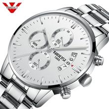Relogio NIBOSI Luxury Famous Top Brand Men Sliver White Wristwatch Waterproof Clock Quartz Best Watch for Men Relogio Masculino