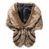 Brown White Winter Faux Fur Wrap Bridal Cape Warm Wedding Cloaks Wedding Accessories 2018 Shrug Shawl Stole Scarves Short