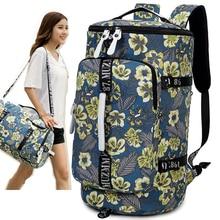 sac de voyage femmes 2018 sac de voyage à bagages imperméable à l'eau toile impression sac à dos emballage cubes sacs en toile pour bagage sac de week-end