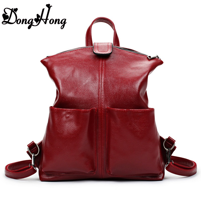 New 2017 100 Real Soft Genuine Leather Women Backpack Woman Korean Style Ladies Strap Laptop Bag