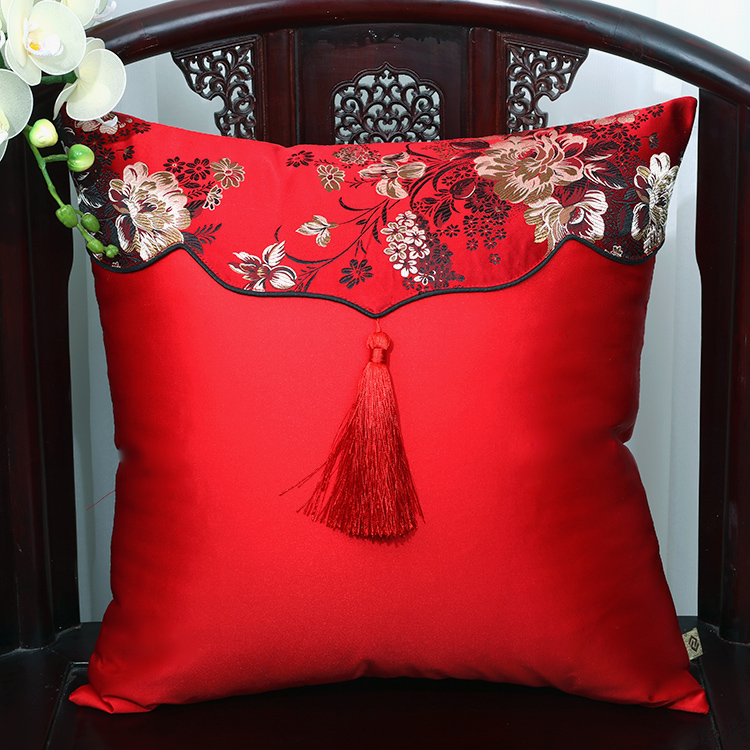 Patchwork Tassel Christmas Silk Cover Cushion Pillow Cover High End Sofa Chair Luxury Chinese Pillow Case Decorative Office Home