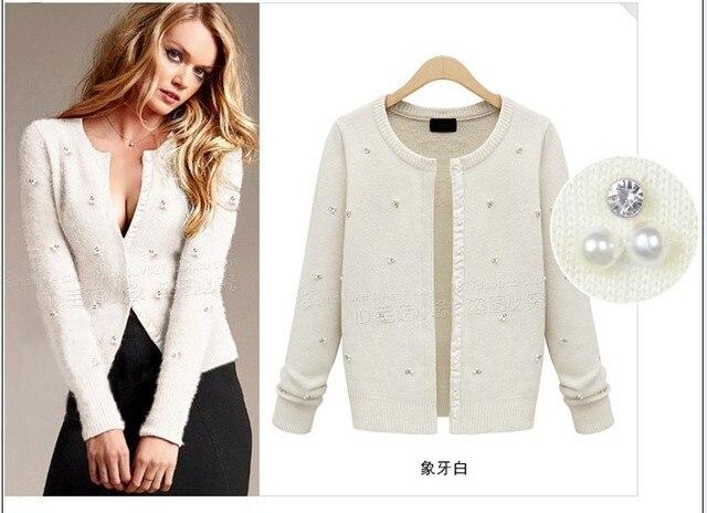 Promotion Fashion Women Pearl diamond Long Sleeve Knitwear Sweater Free Shipping