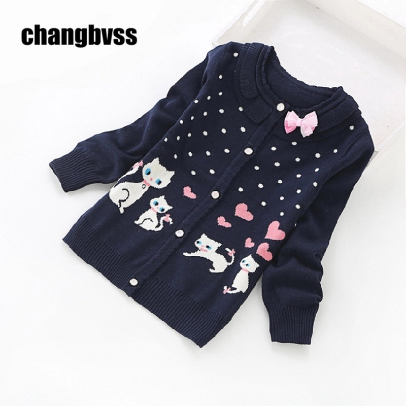 Sweet Casual Cute Cat Pattern Decoration Sweater Girls Children s Sweaters Long Sleeve Sweater Girls Kids