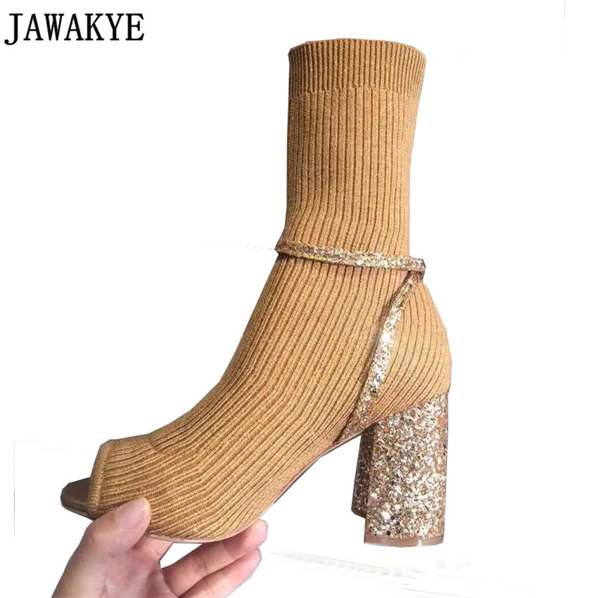JAWAKY New desigin knitted sock shoes for women bling sequins peep toe High  Heels Elastic Ankle Boots Women pumps 1f80463aaba8