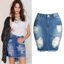 Women Blue Ripped Casual Mini Denim Skirt Bodycon Women Skirt Basic Pocket Jeans Skirt Mid Waist Skirt 2019 Summer New 2019 korean summer vintage sweet preppy style skirt women jeans blue suspender skirt blue casual denim straps overall mini skirt