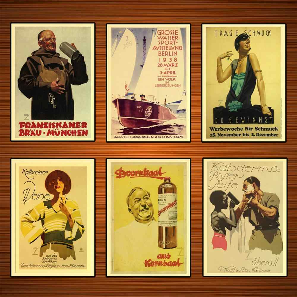 Vintage 1920s German Ads Poster Beer Shaving Soap Jewelry Kraft Posters Classic Canvas Paintings Wall Stickers Home Decor Gift Painting Calligraphy Aliexpress