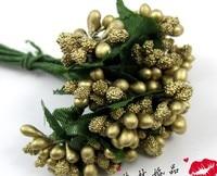 144pcs Bag Gold Artificial Mini Foam Flower Wedding Favors Candy Boxes DIY Craft Bridal Party Decoration