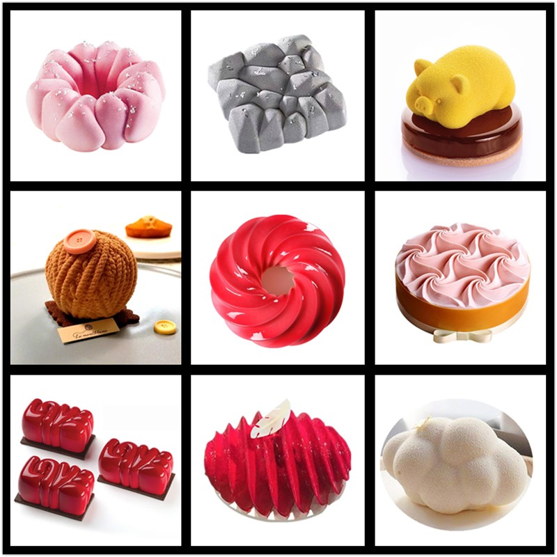 SHENHONG New Cake Mold For Baking Dessert Mousse Silicone 3D Mould Silikonowe Moule Pastry Chocolate Pan Fondant Bakeware