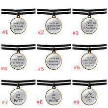 """Black Clavicle Necklace """"Her weirdo,His Crazy """"best Friend Friendship Glass Dome Pendant Lovers"""