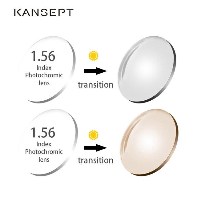 KANSEPT 1.56 endeksi fotokromik gri/kahverengi asferik reçete marka reçine lensler Anti UV yağı su yansıtıcı gözlük Lens