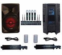 STARAUDIO SPS 15RGB Pair 15 3500W PA DJ Stage Powered Active Speakers W 4CH UHF Microphone