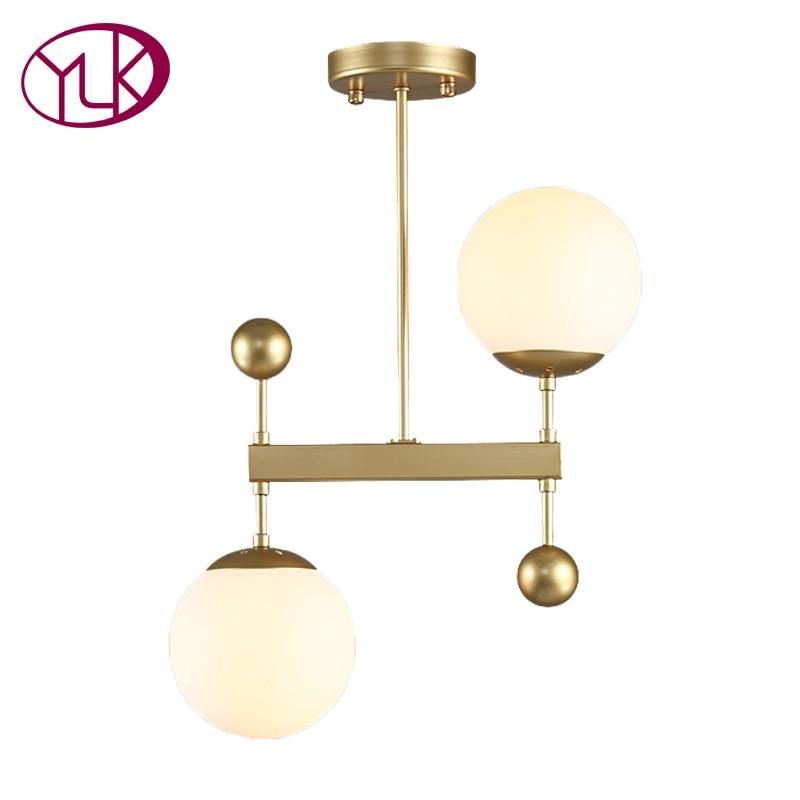 Youlaike Modern Gold/Black Pendant Light For Kitchen 2 Lights Hanging LED Home Decoration Lighting Fixture Creative Design Lamps