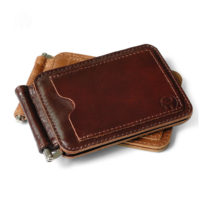 retro brown genuine leather men money clips multifunctional dollar money holder designer new mens money clip money