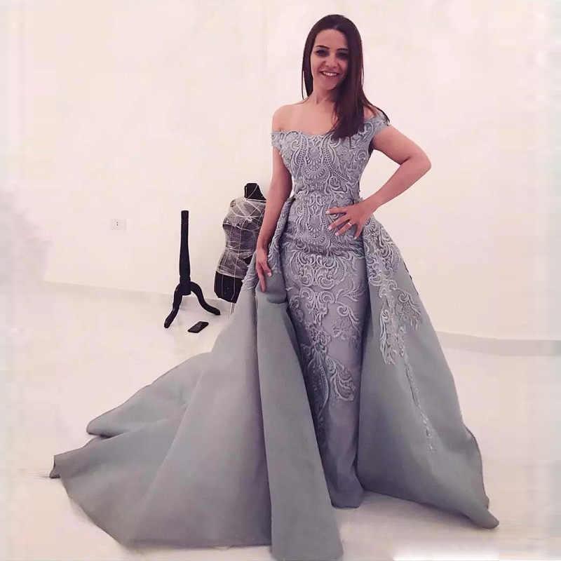 d201791d9c Silver Gray Overskirt Prom Gowns 2018 Long Off Shoulder Lace Applique  Mermaid Arabic Dubai Formal Party Dresses Evening Wear