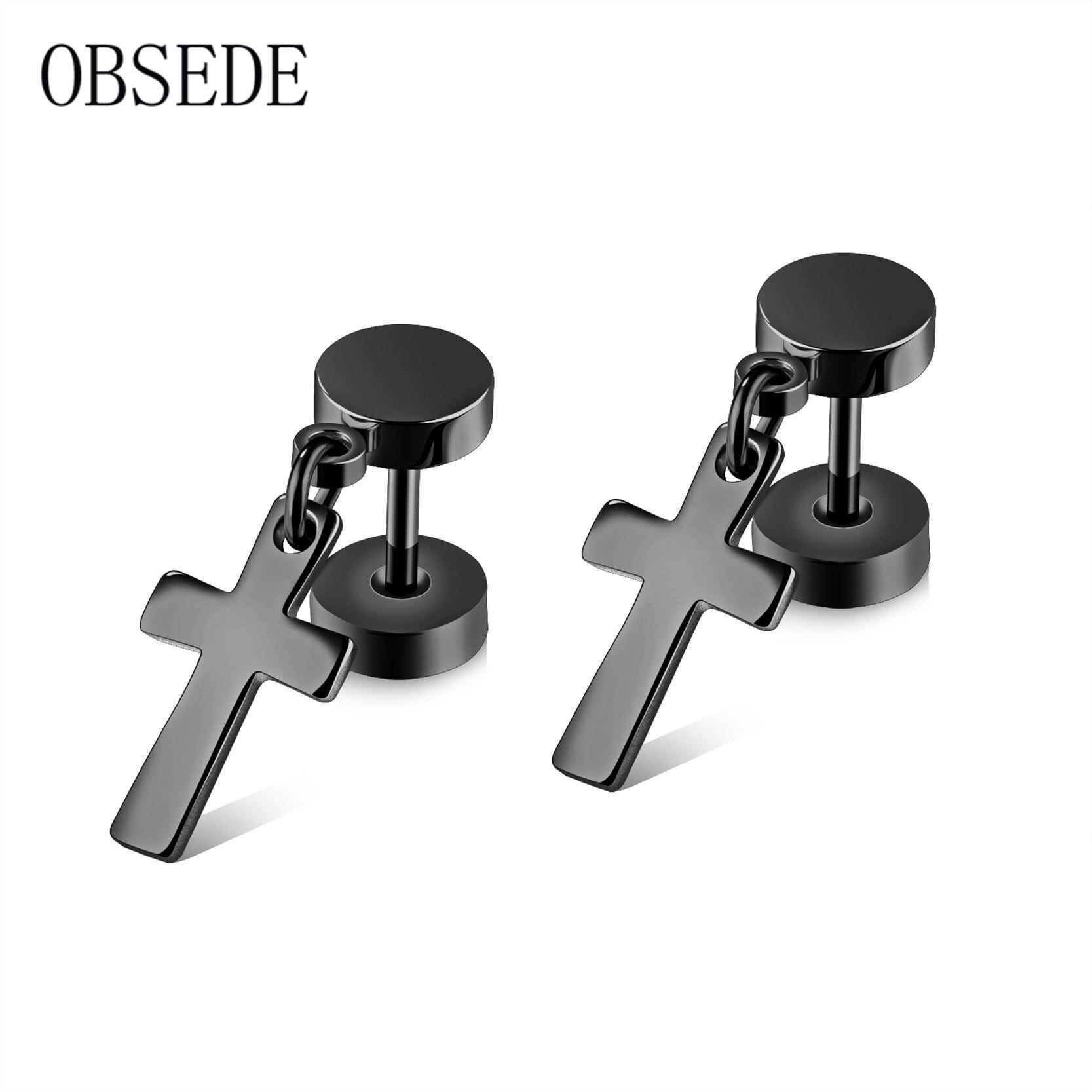 OBSEDE Punk Cross Design Stud Earrings Silver/Gold/Black Stainless Steel Earrings Fashion Charm Jewelry for Women Men Gifts