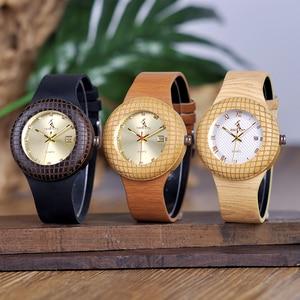 Image 5 - BOBO kuş kadın ahşap saatler bayanlar Metal anlamıyla ile deri kayışlar takvim kol saati gösterisi tarihi özel logo kuş yuvası