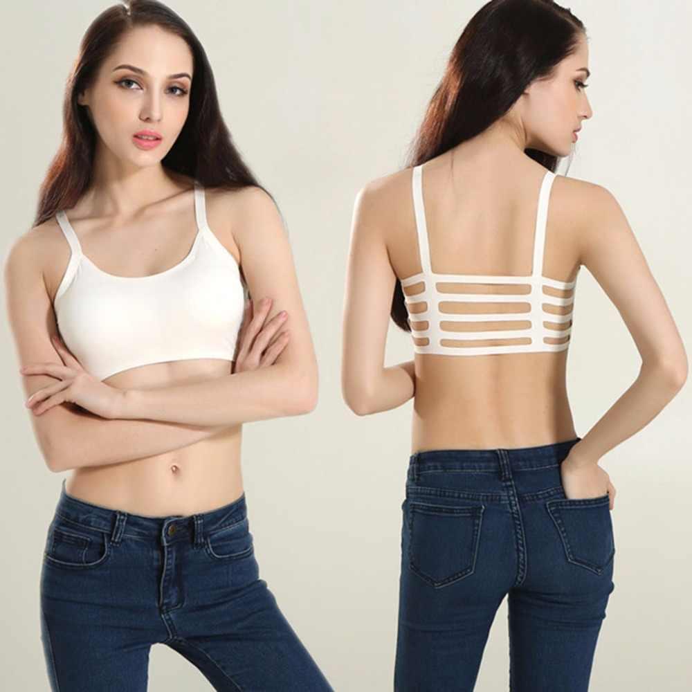 New Sexy Women Stripe Boho Back Bra Crop Top Tank Vest Cami Hollow Bralette White/Black
