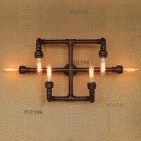 Новая мода Wroguht железная водопроводная труба настенный светильник Винтаж проходные Огни Лофт железные настенные лампы Эдисон лампа накали