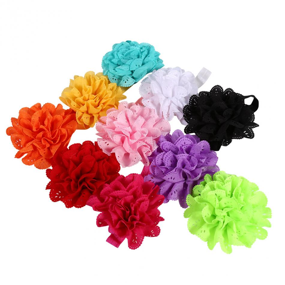 10pcs/Pack Kids Baby Girls Cute Headband Hairband Flower Ears Tie Stretch Hair Ribbon Children Accessories for Toddler Kids Baby