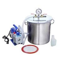 5 Gallons Stainless Steel Vacuum Bucket 3CFM Vacuum Pump Degassing Kit New 110V