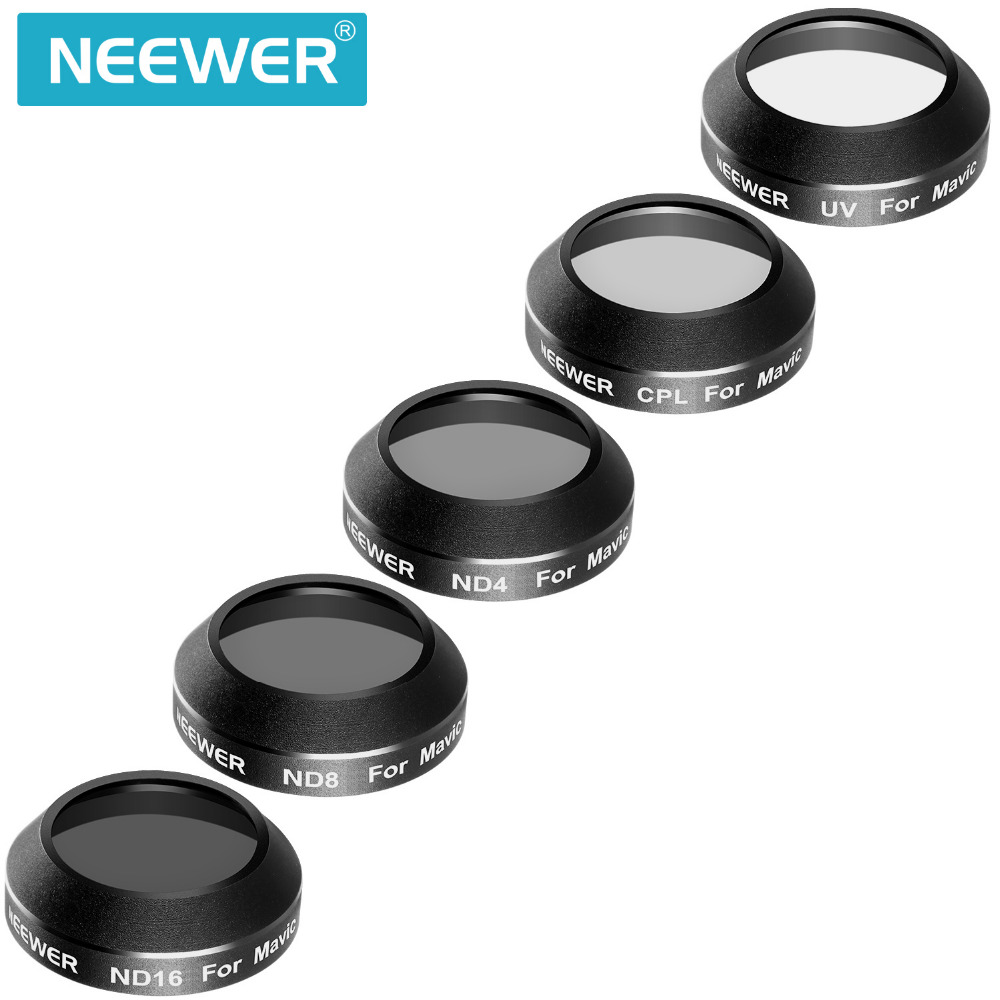 Neewer Multi-coated 5 Pieces Filter Kit for DJI Mavic Pro Drone Quadcopter: UV/CPL/ND4/ND8/ND16 Filter pgy dji phantom 4 3 professional accessories lens filter 6pcs bag nd4 nd8 mcuv cpl cover gimbal camera quadcopter drone part