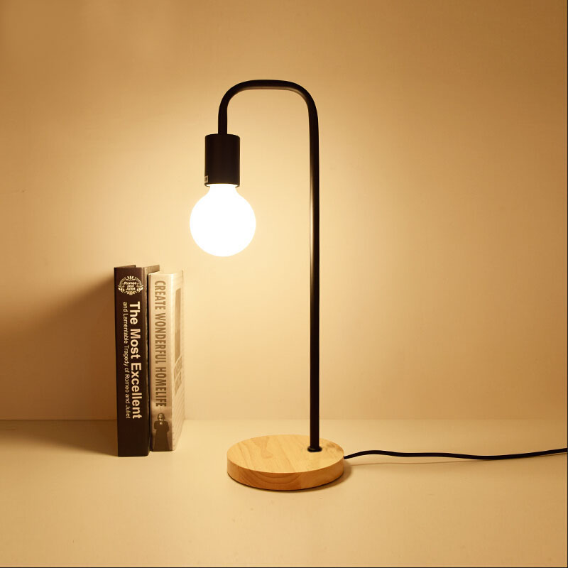 Loft Vintage Desk Lamp with 2 Colors Traditional American Countryside Wooden Edison Table Lamps Nordic Metal Table Fixtures
