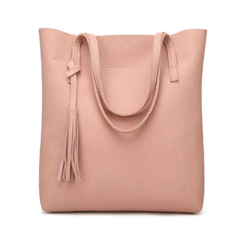 Hot Selling Women Shoulder Bag Simple Tassel High Quality Pu Leather Fashion Pin