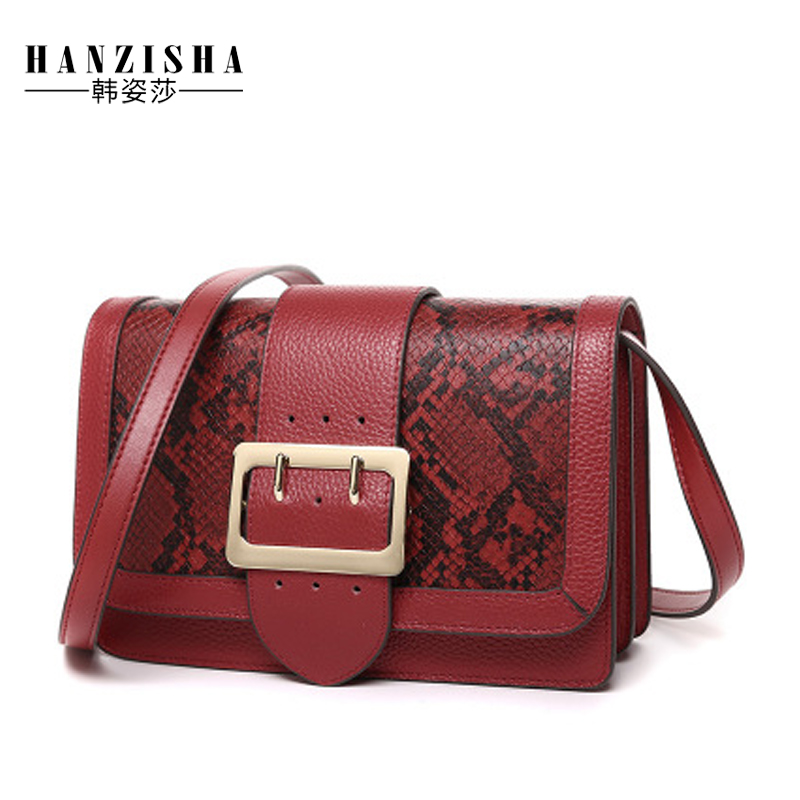 2018 Fashion Serpentine Pattern Genuine Leather Women Messenger Bag Famous Brand Bag Women Flap Bag Luxury Women Crossbody Bag new brand genuine leather women bag fashion retro stitching serpentine quality women shoulder messenger cowhide tassel small bag