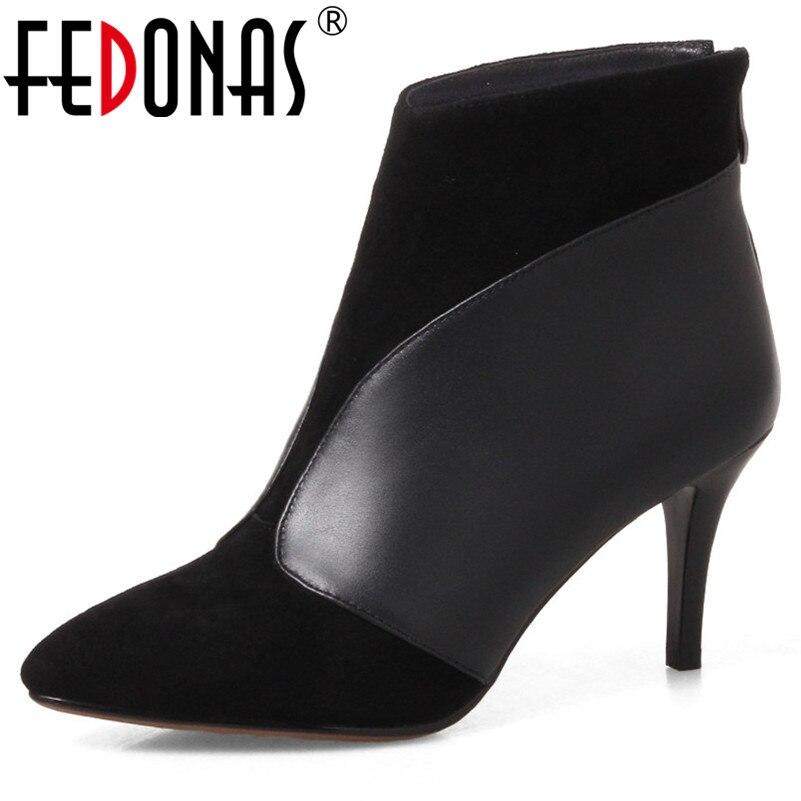 FEDONAS mode talons hauts pompes de bureau femmes automne hiver bout pointu dames chaussures femme nouveauté parti danse chaussures bottes-in Bottines from Chaussures    1