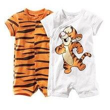 Новые детские комбинезоны для мальчиков и девочек, хлопок, мягкий новорожденный короткий рукав, Летний комбинезон, милый мультяшный тигр, детская одежда, комбинезон