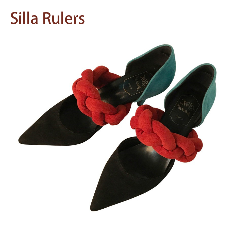 Silla Rulers Pointed Toe Stiletto Heel Party Shoe Women Pumps Knit Bandage Mixed Color Shallow Dress Wedding Shoes Zapatos Mujer